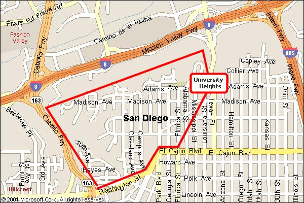 Map of University Heights, San Diego California