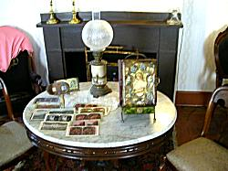 parlor setting with old phots